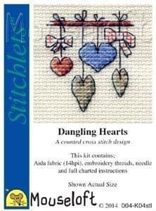 Mouseloft Dangling Hearts Stitchlets cross stitch kit